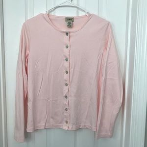 LL Bean Baby Pink Button Cardigan
